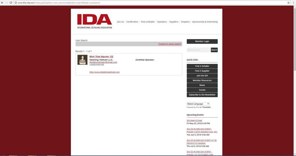 Chứng chỉ Certified Detailer của IDA